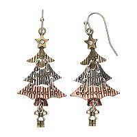 Tri Tone Antiqued Christmas Tree Nickel Free Drop Earrings