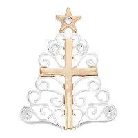 Two Tone Cross Filigree Christmas Tree Pin