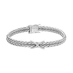 Sterling Silver Cubic Zirconia X Woven Bangle Bracelet