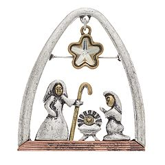 Tri Tone Antiqued Nativity Scene Pin
