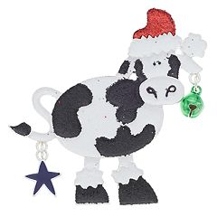 Santa Hat, Jingle Bell & Star Cow Pin