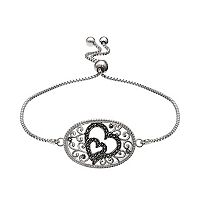 Brilliance Silver Plated Marcasite Double Heart Bolo Bracelet