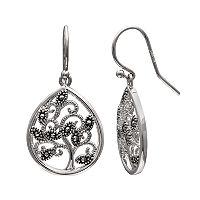 Brilliance Silver Plated Marcasite Tree Teardrop Earrings