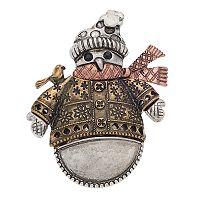 Tri Tone Antiqued Snowman Pin