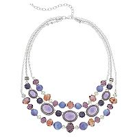 Napier Purple Beaded Oval Stone Multi Strand Necklace