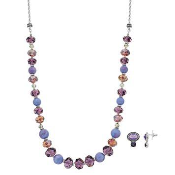 Napier Purple Beaded Necklace & Oval Drop Earring Set