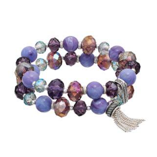 Napier Marbled Purple Bead Double Strand Stretch Bracelet
