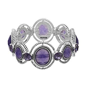 Napier Round Purple Stone Orbital Stretch Bracelet