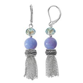 Napier Purple Beaded Tassel Nickel Free Drop Earrings