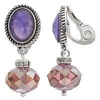 Napier Purple Oval Shaky Bead Nickel Free Clip On Earrings
