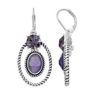 Napier Twisted Purple Orbital Oval Drop Earrings
