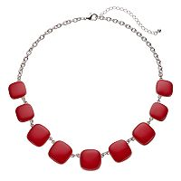 Plus Size Red Graduated Square Necklace