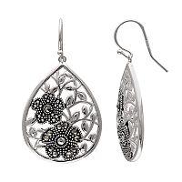 Brilliance Silver Plated Marcasite Flower Teardrop Earrings