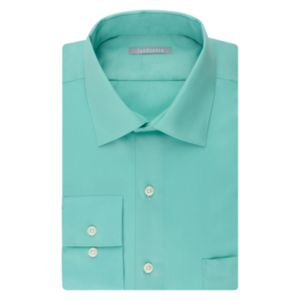 Menu2019s Van Heusen Fitted Athletic Solid Lux Sateen No Iron Spread Collar Dress Shirt