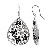Brilliance Silver Plated Marcasite Starfish Teardrop Earrings