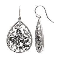 Brilliance Silver Plated Marcasite Butterfly Teardrop Earrings