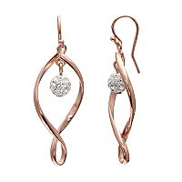 Brilliance Rose Gold Tone Silver Plated Ball Twist Drop Earrings with Swarovski Crystals