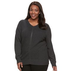 Plus Size Women's Croft & Barrow® Chevron Ottoman Jacket