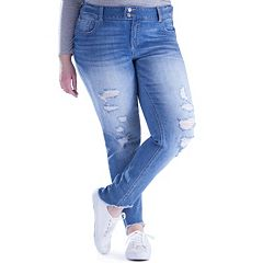 Juniors' Plus Size Amethyst Destructed Skinny Jeans