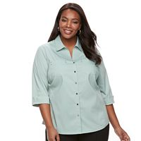 Plus Size Women's Croft & Barrow® Knit-to-Fit Shirt