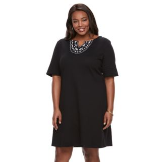 Plus Size Women's Croft & Barrow® Embroidered Dress
