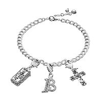 Silver Plated Crystal Cross, Prayer Box & Initial Charm Bracelet