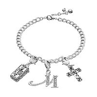 Silver Plated Crystal Cross, Prayer Box & Initial Charm Bracelet