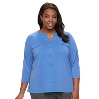 Plus Size Women's Croft & Barrow® Button-Up Top