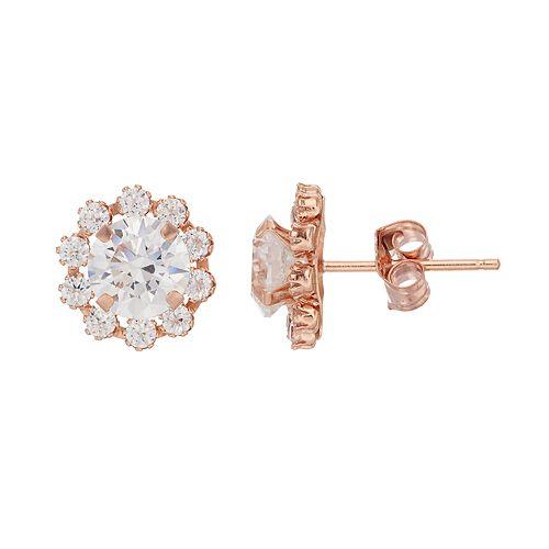 Gold 'N' Ice10k Rose Gold Cubic Zirconia Flower Stud Earrings