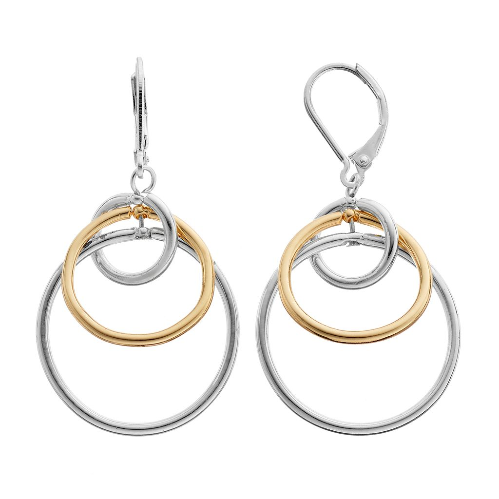 Napier Two Tone Interlocked Circle Nickel Free Drop Earrings