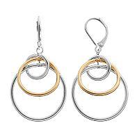 Napier Two Tone Interlocked Circle Nickel Free Drop Earrings
