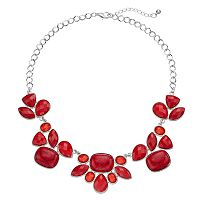 Plus Size Red Geometric Statement Necklace