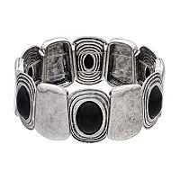 Plus Size Black Cabochon Antiqued Stretch Bracelet