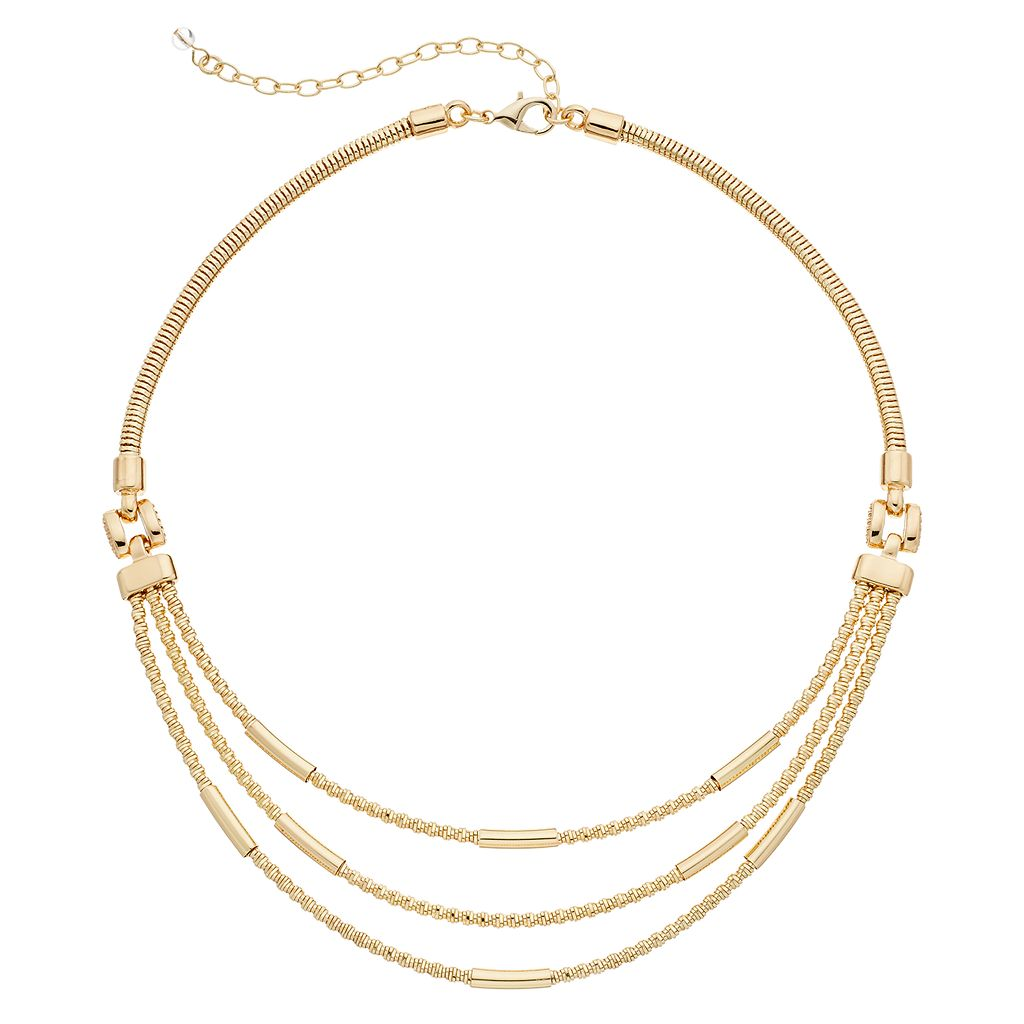 Napier Curved Tube Swag Necklace
