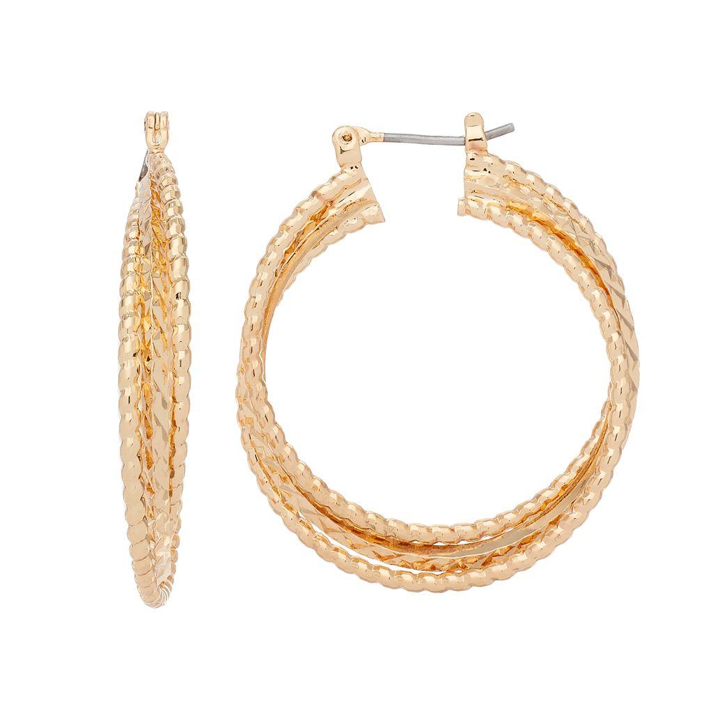 Napier Textured Crisscross Nickel Free Hoop Earrings