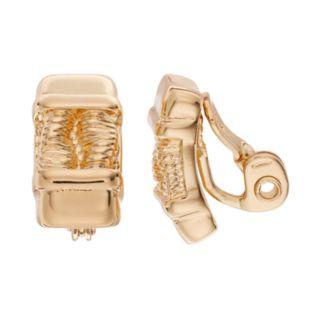 Napier Pleated Bar Nickel Free Clip On Earrings