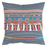Rizzy Home Striped Tassles I Throw Pillow