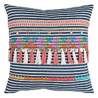 Rizzy Home Striped Tassles I Throw Pillow