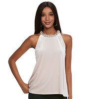 Women's Jennifer Lopez Embellished Velvet Halter Top