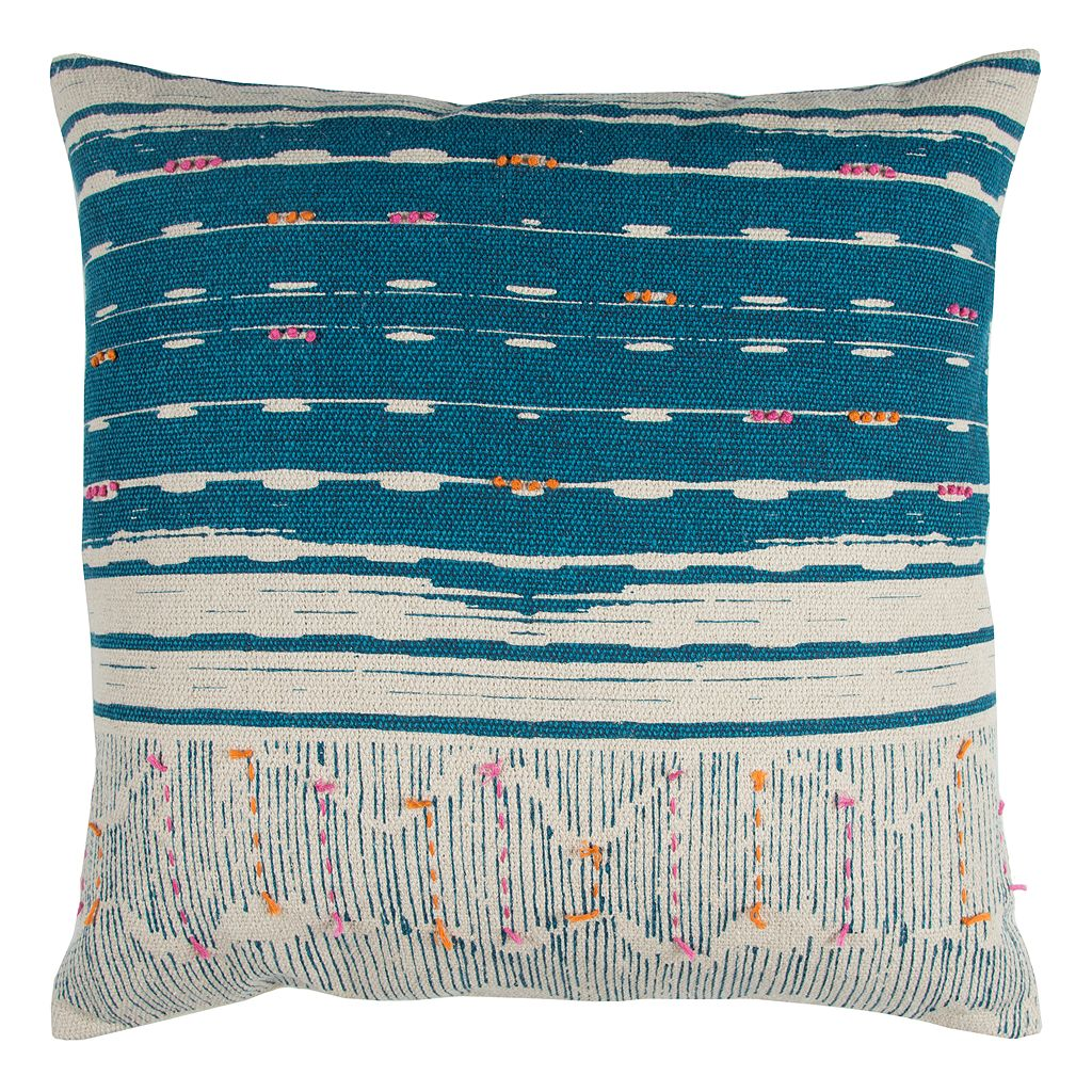 Rizzy Home Striped Tassles II Throw Pillow