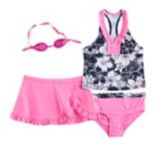 Girls 4-6x ZeroXposur Tropical Flower Tankini Top, Bottoms & Ruffled Skirt Swimsuit Set