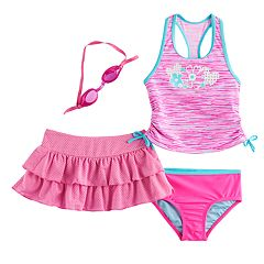 Girls 4-6x ZeroXposur Space-Dyed Tankini Top, Bottoms & Skirt Swimsuit Set