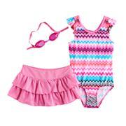 Girls 4-6x ZeroXposur Chevron One-Piece & Skirt Swimsuit Set