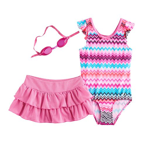 Girls 4-6x ZeroXposur Chevron One-Piece & Skirt Swimsuit Set