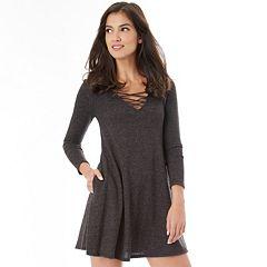 Juniors' IZ Byer Strappy V-Neck Sweater Dress