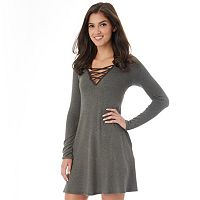 Juniors' IZ Byer Strappy V-Neck Sweater Dress