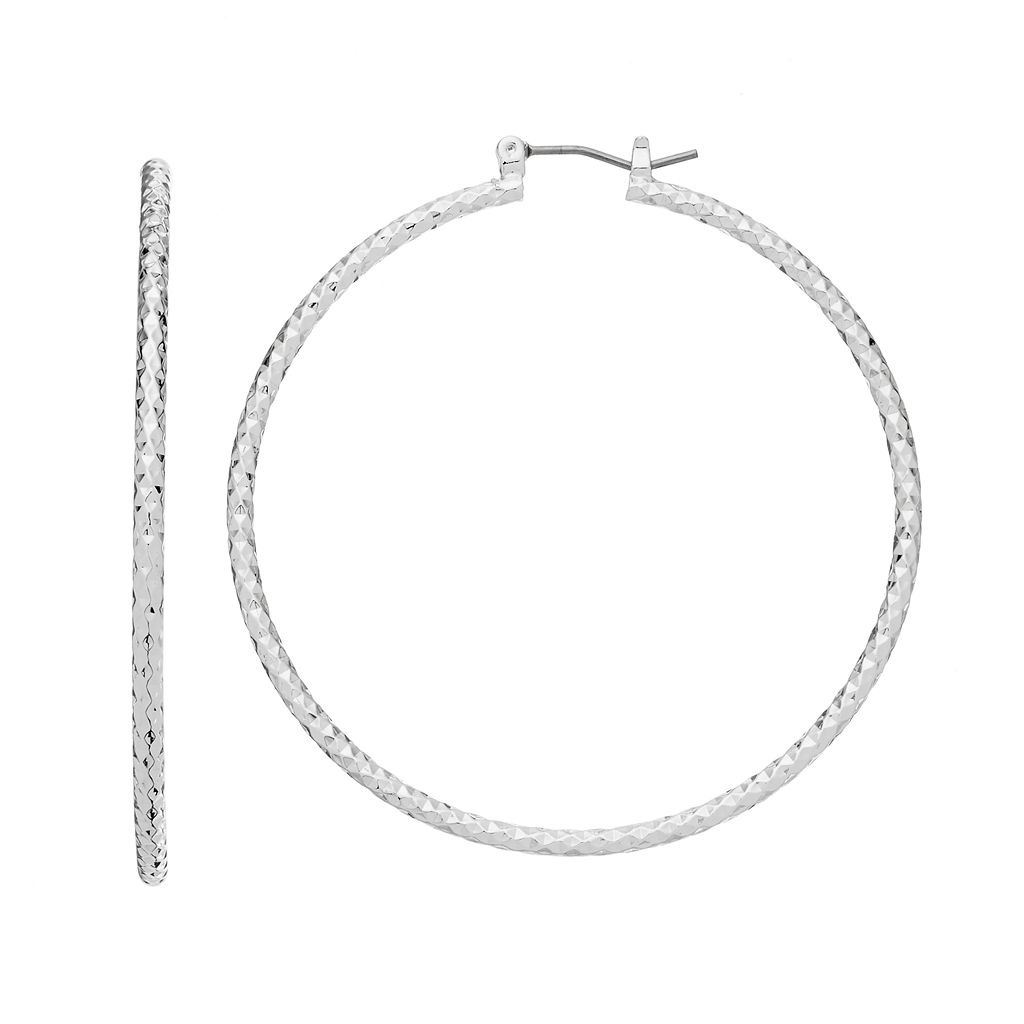 Napier Faceted Texture Nickel Free Hoop Earrings