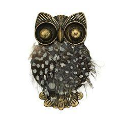 Antiqued Gold Tone Owl Pin