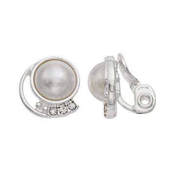 Napier Simulated Pearl Cabochon Nickel Free Clip On Earrings