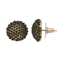 Green Cabochon Dome Nickel Free Stud Earrings
